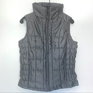 New York & Company Silver Puffer Vest Size M